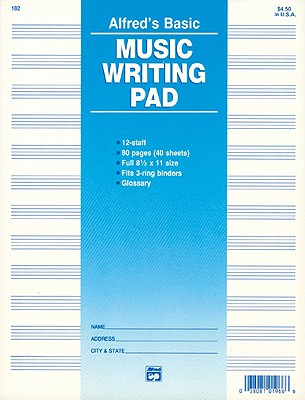12 Staff Music Writing Pad By Alfred Publishing (EDT)